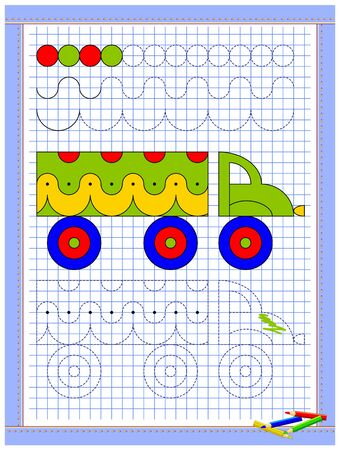Educational page for kids. Printable worksheet on square paper for children. Learn to draw geometrical figures. Developing coloring and tracing skills. School math textbook. Baby coloring book. Çizim