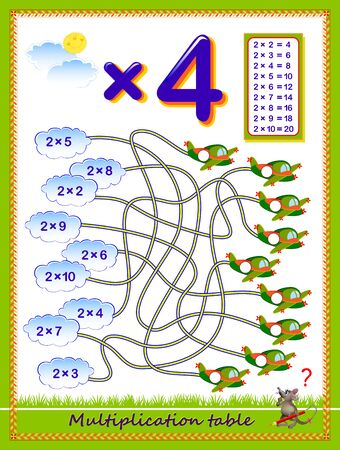 Multiplication table by 4 for kids. Solve examples and write numbers on the airplanes. Educational page for school. Logic puzzle game with labyrinth. Printable worksheet for children math textbook. Çizim