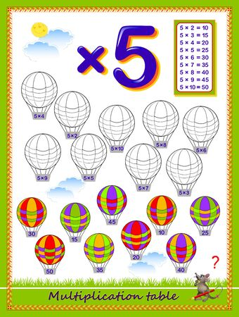 Multiplication table by 5 for kids. Solve examples and paint the balloons. Educational page for school. Logic puzzle game. Printable worksheet for children math textbook. Coloring book. Vector image.