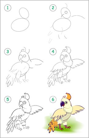 How to draw step by step cute little parrot. Educational page for kids. Back to school. Developing children skills for drawing and coloring. Printable worksheet for baby book. Vector cartoon image.