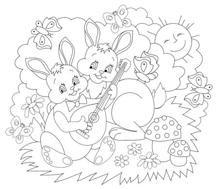 Black and white page for baby coloring book. Illustration of two cute rabbits playing music in the spring. Printable template for kids. Worksheet for children and adults. Hand-drawn vector image.