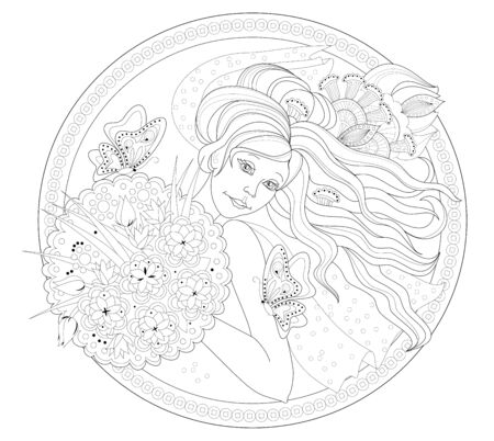 Drawing of beautiful girl with bouquet of flowers. Antique medallion with portrait of bride. Black and white page for coloring book. Print for fashion, embroidery, decoration. Hand-drawn vector image.