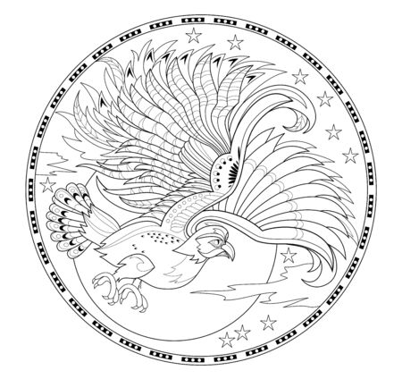 Medallion with flying owl. Fantasy drawing of beautiful fairyland bird. Black and white page for children coloring book. Modern print for fashion, embroidery, decoration. Hand-drawn vector image.