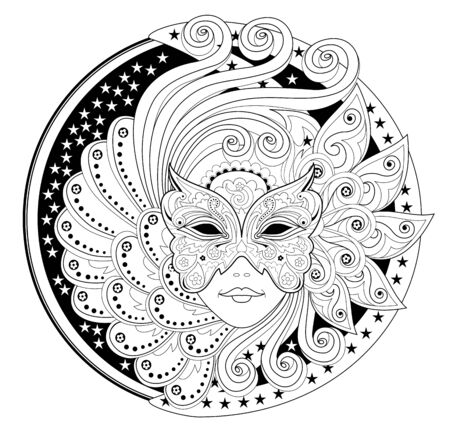 Medallion with portrait of fairy in carnival mask. Fantasy drawing of beautiful girl. Black and white page for coloring book. Modern print for fashion, embroidery, decoration. Hand-drawn vector image.