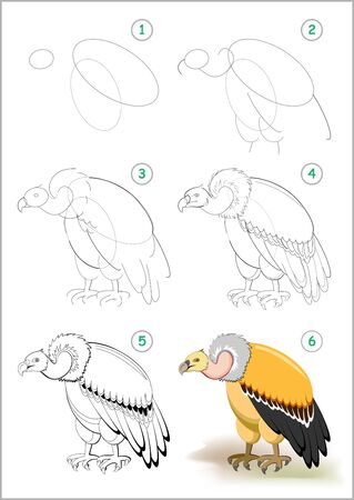 How to draw step by step predatory vulture. Educational page for kids. Back to school. Developing children skills for drawing and coloring. Printable worksheet for baby book. Vector cartoon image. Illustration