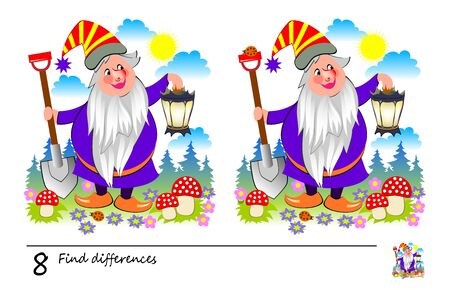 Find 8 differences. Logic puzzle game for children and adults. Printable page for kids brain teaser book. Illustration of cute wizard holding lantern. Developing counting skills. IQ training test.