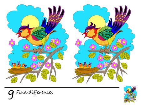 Find 9 differences. Logic puzzle game for children and adults. Printable page for kids brain teaser book. Illustration of bird and his babies in nest. Developing counting skills. IQ training test.
