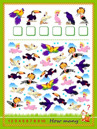 Math education for children. Count quantity of birds and write the numbers. Developing counting skills. Printable worksheet for kids textbook. Logic puzzle game. IQ test. Flat vector cartoon image. Illustration