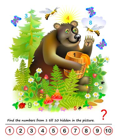 Logic puzzle game. Math education for young children. Find the numbers from 1 till 10 hidden in the picture. Developing counting skills. IQ test. Printable worksheet for kids book. Back to school. Ilustración de vector