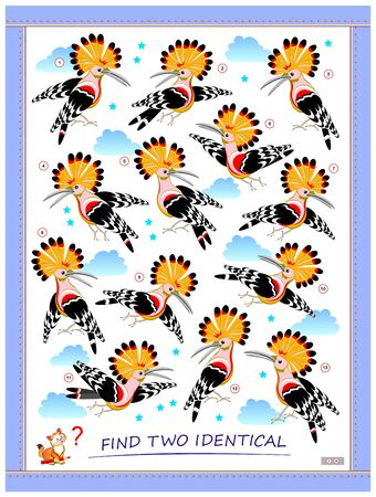 Logic puzzle game for children and adults. Find two identical hoopoes. Printable page for kids brain teaser book. Developing spatial thinking skills. IQ training test. Flat vector cartoon image.
