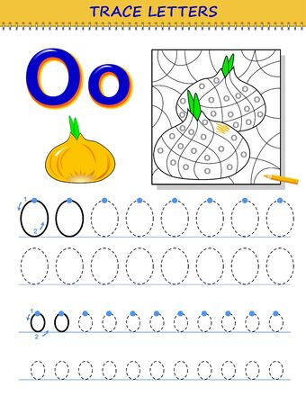 Tracing letter O for study alphabet. Printable worksheet for kids. Education page for coloring book. Developing children skills for writing and tracing ABC. Vector cartoon image for school textbook. Ilustração