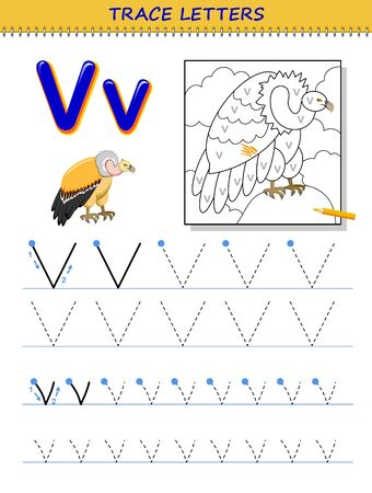 Tracing letter V for study alphabet. Printable worksheet for kids. Education page for coloring book. Developing children skills for writing and tracing ABC. Vector cartoon image for school textbook.