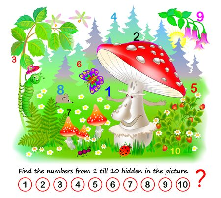 Logic puzzle game. Math education for young children. Find the numbers from 1 till 10 hidden in the picture. Developing counting skills. IQ test. Printable worksheet for kids book. Back to school.