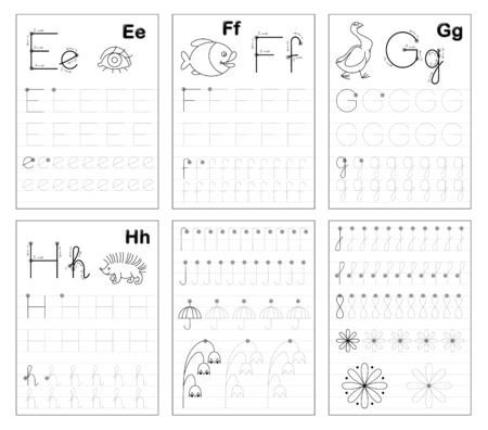 Set of black and white educational pages on line for kids. Learn to trace alphabet letters. Printable worksheet for children textbook. Developing writing skills. Back to school. ABC exercise book.