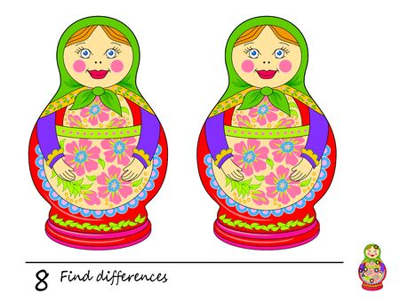 Find 8 differences. Logic puzzle game for children and adults. Printable page for kids brain teaser book. Illustration of cute Russian doll matryoshka. Developing counting skills. IQ test. Flat vector.