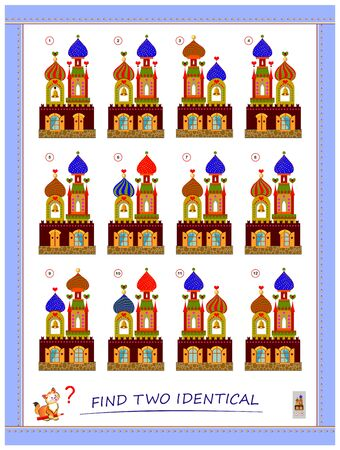 Logic puzzle game for children and adults. Find two identical toy castles. Printable page for kids brain teaser book. Developing spatial thinking skills. IQ training test. Flat vector cartoon image.