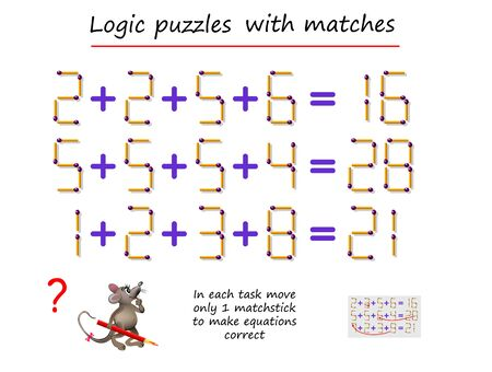 Logical puzzle game with matches. In each task move only 1 matchstick to make equations correct. Math tasks on addition. Printable page for brain teaser book. IQ training test. Vector image. Vetores