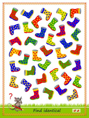 Logic puzzle game for children and adults. Find two identical boots. Printable page for kids brain teaser book. Developing spatial thinking skills. IQ training test. Flat vector cartoon image. Векторная Иллюстрация