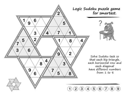 Logic puzzle game for children and adults. Solve Sudoku so that each big triangle, each horizontal row and each diagonal have different numbers from 1 to 9. Brain teaser book. Black and white vector.