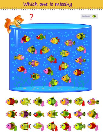 Logic puzzle game for children and adults. Which one of the fishes is missing in aquarium? Printable page for kids brain teaser book. Developing spatial thinking skills. IQ test. Flat cartoon vector.