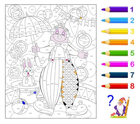 Math education for little children. Coloring book. Mathematical exercises on addition and subtraction. Solve examples and paint clown. Developing counting skills. Printable worksheet for kids.