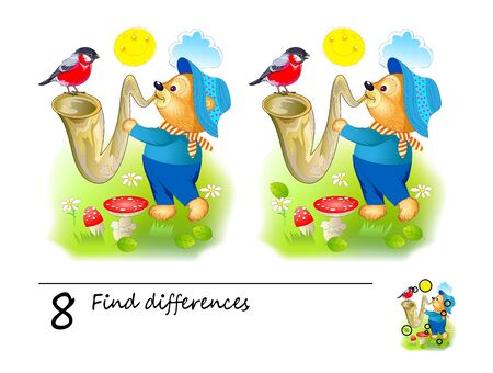 Find 8 differences. Logic puzzle game for children and adults. Printable page for kids brain teaser book. Illustration of cute bear playing the saxophone. Developing kids counting skills. IQ test. Illustration