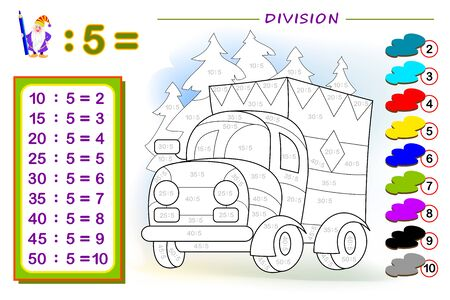 Exercise for kids with division by number 5. Paint the picture. Educational page for mathematics baby book. Printable worksheet for children textbook. Back to school. IQ test. Vector illustration.