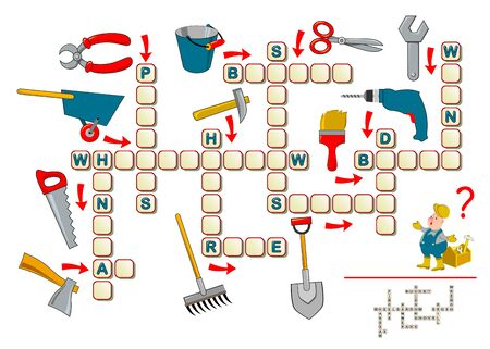 Crossword puzzle game for kids with working tools. Educational page for children to study English language and words. Printable worksheet for kids textbook. Back to school. Flat vector cartoon image.