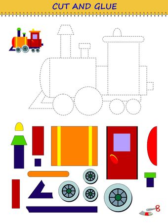 Educational page for little children. Printable template with exercise for kids. Use a scissors to cut and glue toy train. Developing skills for cutting and handwork. Flat vector cartoon image.