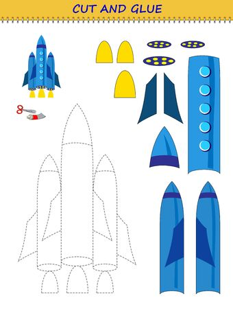 Educational page for little children. Printable template with exercise for kids. Use a scissors to cut and glue toy rocket. Developing skills for cutting and handwork. Flat vector cartoon image. Ilustrace