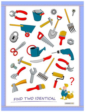 Logic puzzle game for children and adults. Help the worker find two identical tools. Printable page for kids brain teaser book. Developing spatial thinking skills. IQ test. Flat vector illustration. Ilustrace