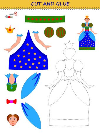 Educational page for little children. Printable template with exercise for kids. Use a scissors to cut and glue cute toy doll. Developing skills for cutting and handwork. Flat vector cartoon image. Illusztráció