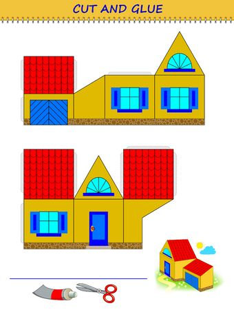 Educational page for little children. Printable template with exercise for kids. Use a scissors to cut and glue cute toy house. Developing skills for cutting and handwork. Flat vector cartoon image.