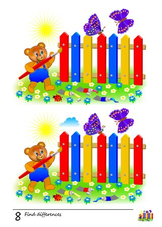 Find 8 differences. Logic puzzle game for children and adults. Printable page for kids brain teaser book. Illustration of a cute bear is coloring fence. Developing counting skills. IQ test.