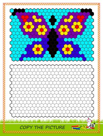 Educational page for kids. Copy picture. Printable worksheet for children school textbook. Draw and paint butterfly by example. Developing coloring and counting skills. Baby coloring book. IQ test. Ilustrace