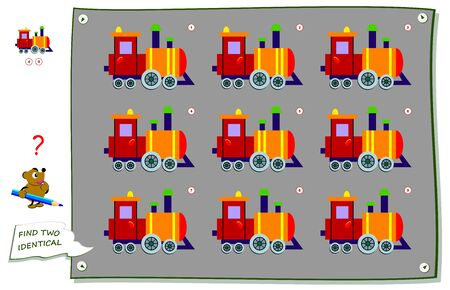 Logic puzzle game for children and adults. Find two identical trains. Printable page for kids brain teaser book. Developing counting skills. IQ test. Flat vector illustration. Online education.