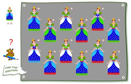 Logic puzzle game for children and adults. Find two identical princess. Printable page for kids brain teaser book. Developing counting skills. IQ test. Flat vector illustration. Online education.