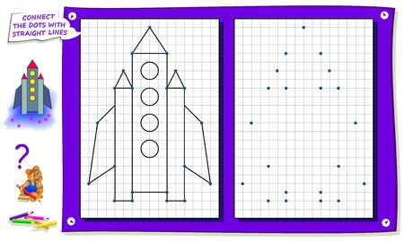 Repeat the image by example, connect dots with straight lines and draw rocket. Logic game for kids on square paper. Worksheet for children coloring book. Flat vector illustration. Online education.