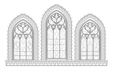 Black and white drawing for coloring book. Beautiful medieval stained glass window in French churches. Gothic architectural style in western Europe. Worksheet for children. Fantasy vector image.