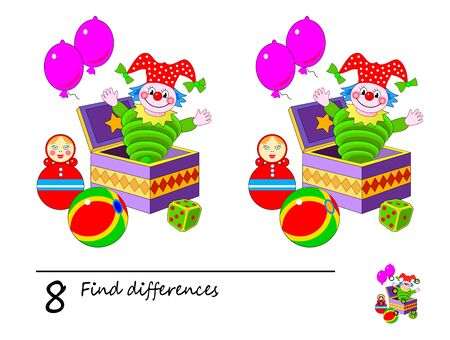 Find 8 differences. Logic puzzle game for children and adults. Printable page for kids brain teaser book. Illustration of cute baby toys. Developing counting skills. IQ test. Online education.
