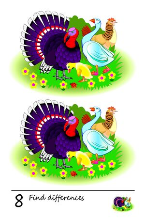Find 8 differences. Logic puzzle game for children and adults. Printable page for kids brain teaser book. Illustration of domestic farm birds. Developing counting skills. IQ test. Online education. Ilustrace