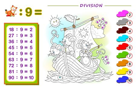 Exercise for kids with division by number 9. Paint the illustration. Educational page for mathematics baby book. Printable worksheet for children textbook. Coloring book. Online education. Ilustrace