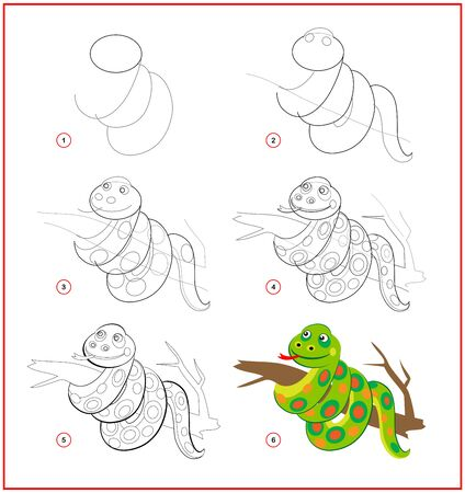 Page shows how to learn to draw step by step cute little toy snake. Developing children skills for drawing and coloring. Printable worksheet for kids school exercise book. Flat vector illustration. Ilustrace