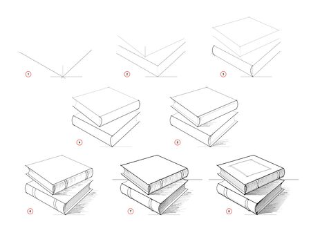 Page shows how to learn to draw sketch of books. Creation step by step pencil drawing. Educational page for artists. Textbook for developing artistic skills. Hand-drawn vector. Online education.