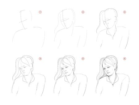 How to learn to draw sketch of women portrait. Creation step by step pencil drawing. Educational page for artists. Textbook for developing artistic skills. Hand-drawn vector. Online education.