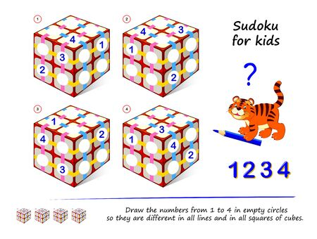 Set of logic 3D Sudoku puzzle games for children. Draw numbers from 1 to 4 in empty circles so they are different in all lines and in all squares of cubes. Printable page for kids brain teaser book.