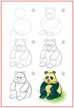 Page shows how to learn to draw step by step cute little toy panda. Developing children skills for drawing and coloring. Printable worksheet for kids school exercise book. Flat vector illustration.