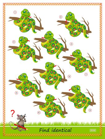 Logic puzzle game for children and adults. Find two identical snakes. Printable page for kids brain teaser book. Developing counting skills. IQ test. Flat vector cartoon illustration. Online education