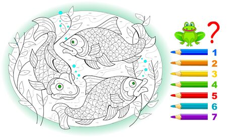 Math education for little children. Coloring book. Mathematical exercises on addition and subtraction. Solve examples and paint the fishes. Developing counting skills. Printable worksheet for kids. Stock Illustratie