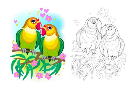 Fantasy illustration of couple of romantic parrots lovebirds. Colorful and black and white page for coloring book. Tropical birds. Printable worksheet for children textbook. Flat cartoon vector.